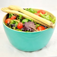 Turquoise Bamboo Salad Bowl / Fruit Bowl with Servers or Salad Hands