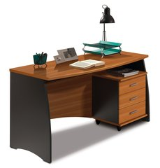 TULIP Nut Brown and Office Grey Desk With Drawers