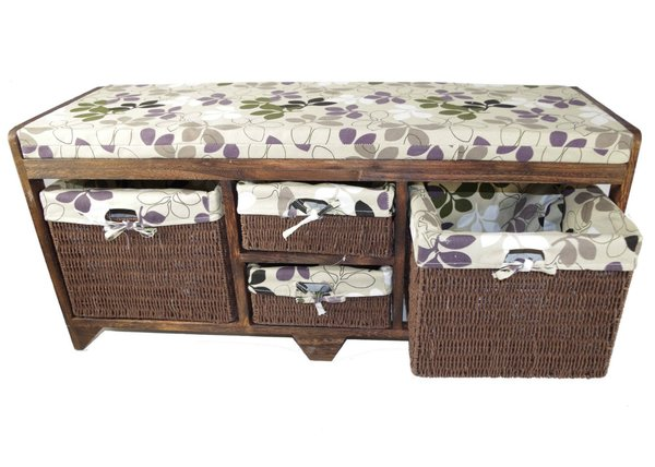Wooden Storage Bench Cushion Seat with 4 Baskets drawers