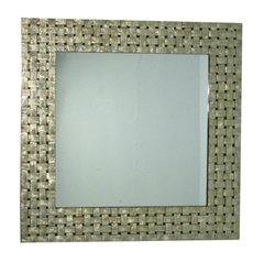 Shell Mirror Gold & Black Basket Weave