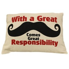 With a Great Mustache Cotton Canvas Cushion
