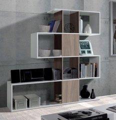 BREEZE Walnut and White Gloss Bookcase