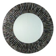 Round Shell Mirror Black and Amber