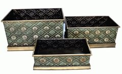 Designer Garden Metal Planters / Storage Boxes Set of 3