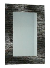 Rectangular Shell Mirror Black and Amber