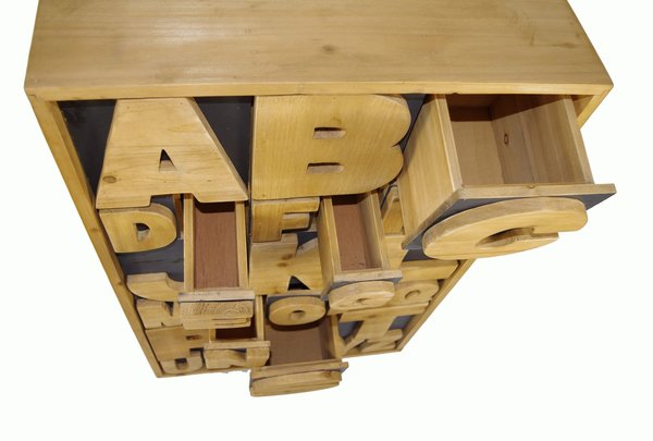 Unique Children's Wooden Alphabet Chest of Drawers Cabinet