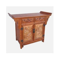 Elm Cabinet / Altar with antique panels, 2 doors and 2 drawers