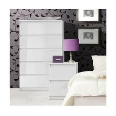 LAUREL Black Gloss or White Gloss 5 Drawer Tall Chest Of Drawers