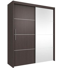 ANTHEA Sliding Mirror Door Wardrobe 151cm Wenge / Matt White / Oak