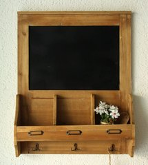 Chalk Message Board with Key / Coat Hooks and Post Space