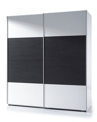 MAPLE Sliding Wardrobe 180cm Black Wood & White Gloss