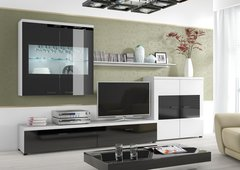 BREEZE Frame Black and White Plasma LCD LED TV Entertainment Wall Cabinet
