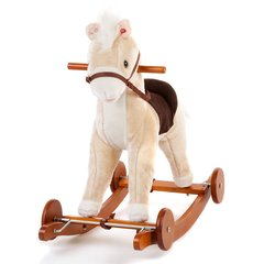 Cream Wooden Toy Rocking Horse with Sounds and Moving Mouth 2 in 1 Ride On