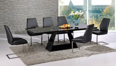 Italia Extending Black Table with 6 Mariya Chairs Black