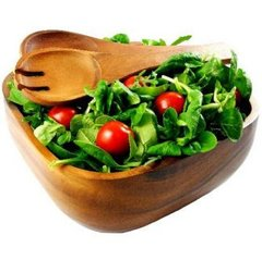 Acacia Square Salad Bowl with Servers or Salad Hands