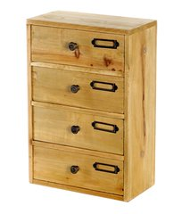 Tall 4 Drawers Wooden Storage 23 x 12 x 34 cm