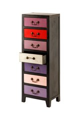 Unique Purple / Pink Retro Tall Slim Cabinet with 7 Drawers