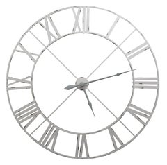 Vintage Metal Wall Clock Off White 110cm