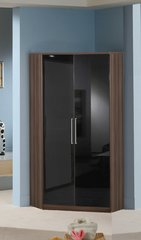 MULBERRY Black Gloss and Walnut 2 Door Corner Wardrobe