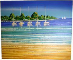 By The Sea 2 - 50cm x 60cm Real Art Painting, Oil on Canvas