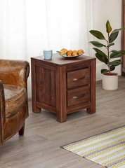 Baumhaus MAYAN WALNUT Two Drawer Lamp Table / Bedside Table