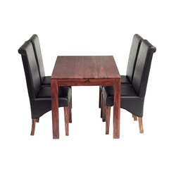 CUBE 4 Ft Dining Set With 4 Leather Chairs