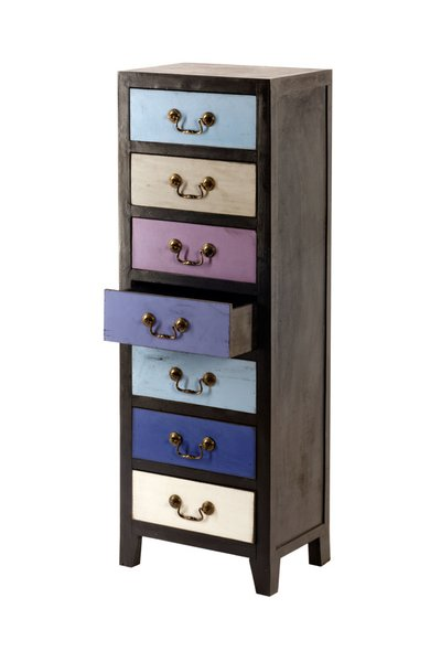 Unique Blue Retro Tall Slim Cabinet with 7 Drawers