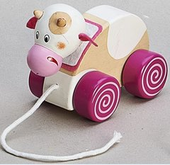 Children's Wooden Pull Along Cow Toy