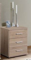 ORCHID 3 Drawer Bedside Chest Of Drawers Alpine White or Oak Effect