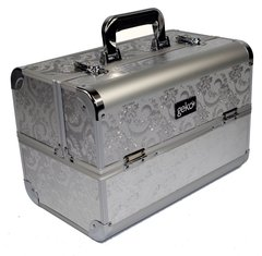 Professional Designer Vanity Case Makeup Box Silver Leaf Design