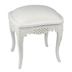 FRENCH White Louis Upholstered Dressing Table Stool