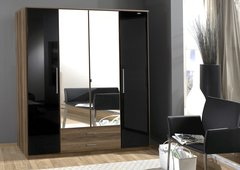 MULBERRY Black Gloss and Walnut 4 Door 2 Drawer Wardrobe With Mirror