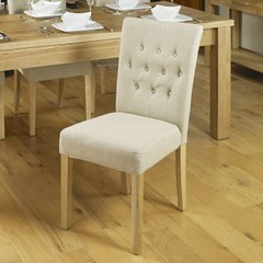 Baumhaus Oak Flare back Upholstered Dining Chair Biscuit (Set of 2)