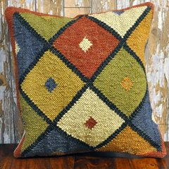 Diamond Patterned Filled Kilem Cushion 40 x 40 cm