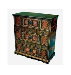 Black Lacquer Cabinet with Doors and Drawers