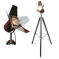 Black Wooden Tripod Spotlight with Chrome Nickel Finish