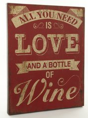 Wooden Love & Wine Sign 68 x 53cm