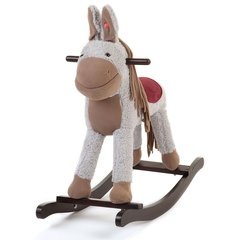Grey Wooden Toy Rocking Donkey with Sounds and Moving Ears