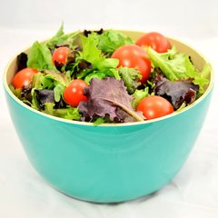 Turquoise Bamboo Salad Bowl / Fruit Bowl
