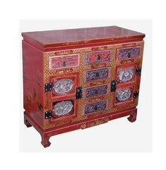 Red Lacquer Cabinet with Two Doors and Six Drawers