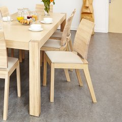 Baumhaus OLTEN UNO Ivory Dining Chair in Light Oak Finish (Pack Of Two)