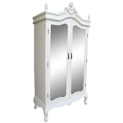 FRENCH Antique Cream Double Full Mirrored Armoire Wardrobe
