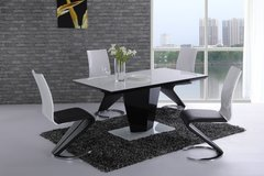 Leona Black High Gloss & White Glass Dining Table with 4 or 6 Leona Z Chairs