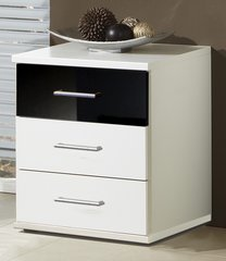 MULBERRY 3 Drawers Black and White Bedside Chest Of Drawers