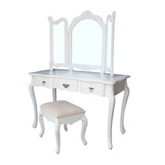 FRENCH Large White Dressing Table Set with Triple Mirror & Stool