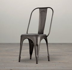 Indian Hub COSMO Industrial Style Metal Chair Grey X 2 (sold as a pair)