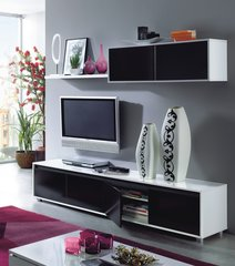 DAHLIA Black and White Gloss TV Complete Wall Cabinet