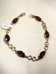 10k yellow gold garnet bracelet b170