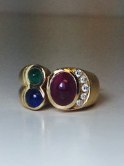 14K Yellow Gold Ruby, Emerald and Sapphire Cabochon Smiley Ring