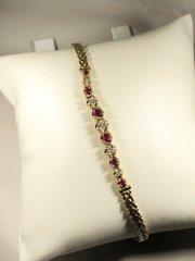 14k ruby and diamond bracelet. B150